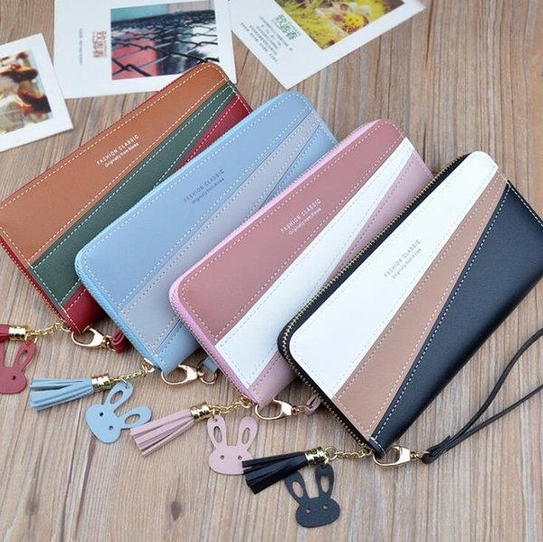outlet brand women handbag classic printed long wallet multi-functional leather women wallet small fresh contrast color wallet in hand