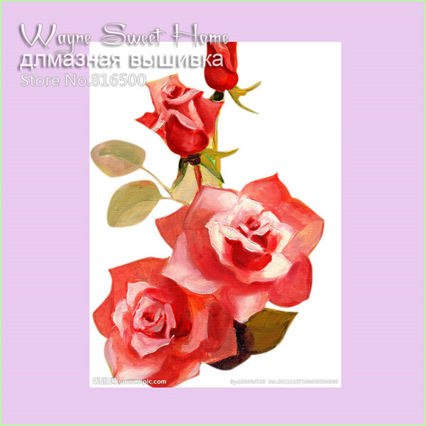 New DIY 3D Diamond Painting Cross Stitch Red Floral Diamond Embroidery Flowers Picture Of Rhinestones 5d Hobby Needles Handcraft