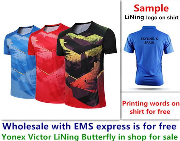 Wholesale EMS für freies, Textdrucken für freies, neues Badmintonhemd kleidet Sporthemd des Tischtennis T kleidet b006
