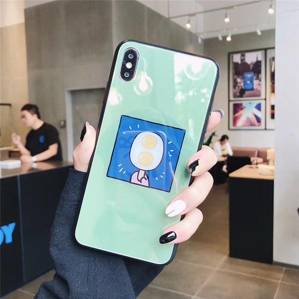 caja del teléfono de lujo una sola pieza para iPhone6S 7 8P XS helado o la pata del gato con la caja de cristal del espejo del teléfono del diseñador de la contraportada