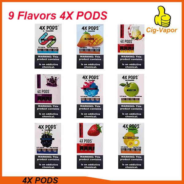 4X pods 1,0ml grande capacité Pas de fuite 4 Pod Chaque pack Vape cartouche vide Compatible pods 9Flavors VS Myle VGöD Stig pods