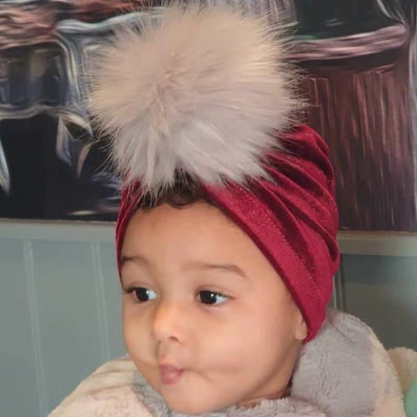 10 colorNew neonato di velluto palla oro pelliccia toddle cappelli Kids Designer fasce hat Bandane accessori per capelli bambina bambini della protezione turbante