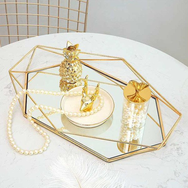 Vintage Colorful Glass Metal Storage Tray Gold Oval Dotted Fruit Plate Desktop Small Items Jewelry Display Tray Mirror