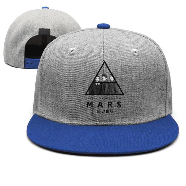 Banda de rock Trinta Segundos Para Marte logotipo símbolo para homens snapback azul Hip Hop moda cabido personalizado chapéus da juventude