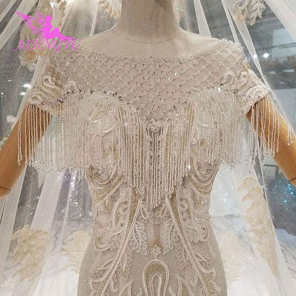 venta al por mayor vestidos para los vestidos de boda de alta costura escardar 2018 seda de la parte superior de Turquía India vestido largo de tren vestido de boda Vintage