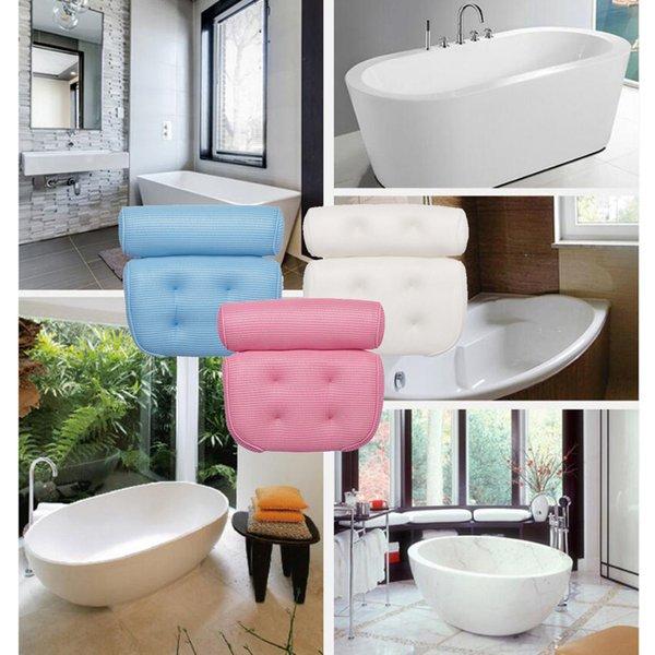 top popular 2pcs Bathtub Bath Pillow Non-Slip Head Shoulder Neck Back Rest Cushions 2021