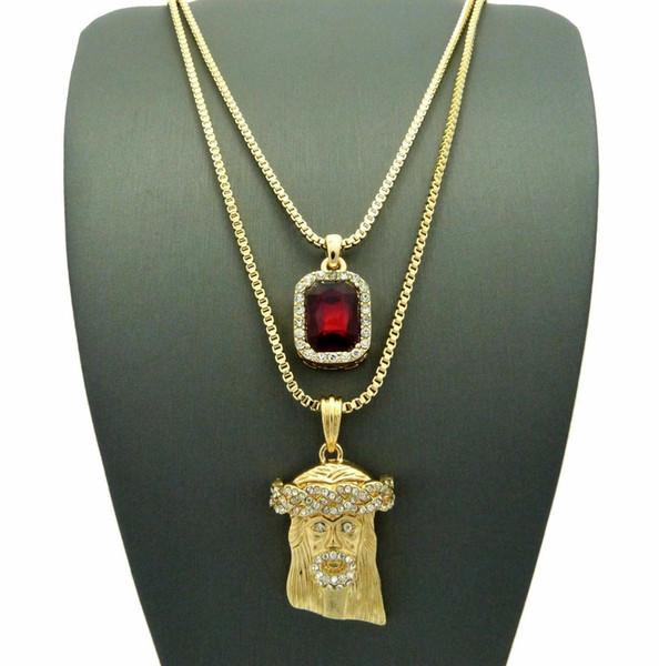 Gold HIPHOP Jesus Square Ruby Pendant Charm Chain Necklace Jewelry 2 PCS Necklace Set Rapper Accessories