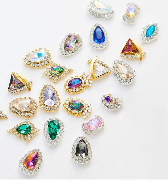 10 PÇS / LOTE 20 Estilos de Moda Prego Diamantes liga brilhante Broca de Diamante Grande decoração brilhante dIY acessórios de unhas