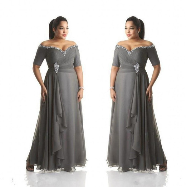 Vintage Grey Mother of the Bride Dresses Plus Size Off the Shoulder Cheap Chiffon Prom Party Gowns Long Mother Groom Dress Wear
