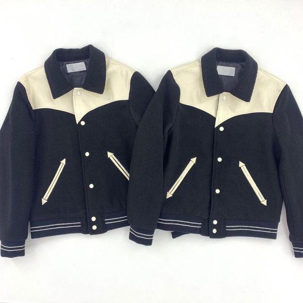 dropship chaqueta a juego de lana chaqueta de piel de oveja de empalme de béisbol costura Coats Fashion Street Otoño Invierno Prendas de Hip Hop zcm02