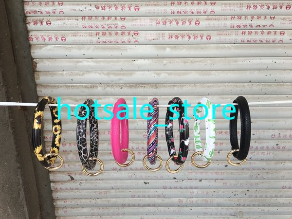 Serape Leather Bracelet Keychain 50pcs Bull Sunflower Leopard Fashion Leather O Key Ring Custom Circle Bracelet Wristlet Keychain