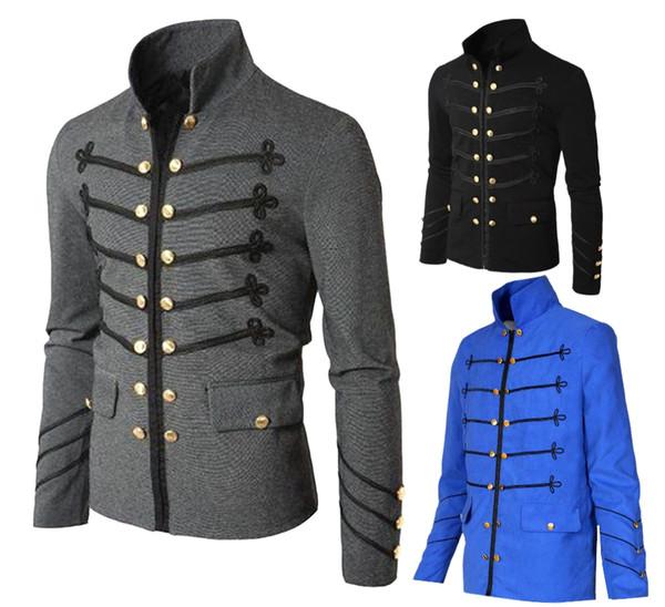 Großhandel Männer Vintage Armee Jacke Männer Gothic Steampunk Tunika Rock Forck Mantel Uniformen Männlich Schwarz Punk Outwear Cosplay Kostüm Von
