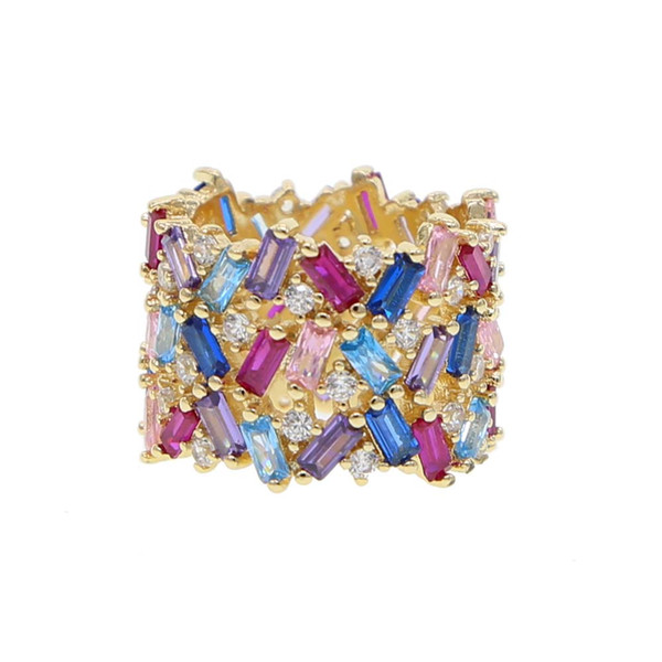 Luxury wide rainbow cz band ring for women lady gift gold color gorgeous trendy full finger rings