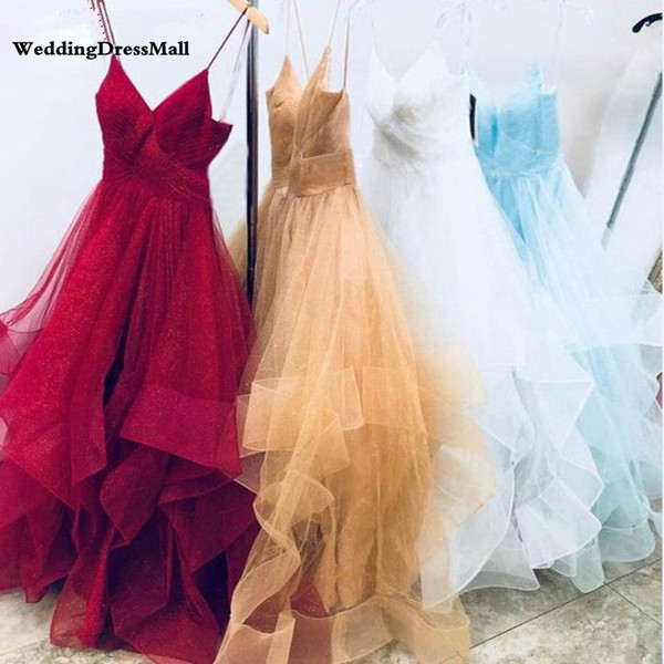 Sparkly Tulle Gold Prom Dresses 2019 Long Spaghetti Straps Ruched Ruffle Burgundy Evening Formal Dress White Party Gowns