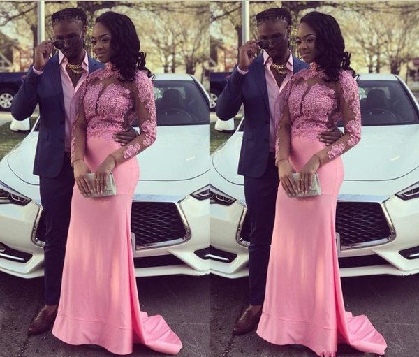 2020 Modest Black Girls Mermaid Pink Prom Dresses Long Sleeves Lace Appliques High Neck Formal Evening Party Gowns