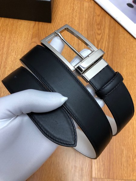 Brand Men Classic Gold and Sliver Needle Designer Belts Black Hipster Fashion Square Buckle Leather Belt with Original Box