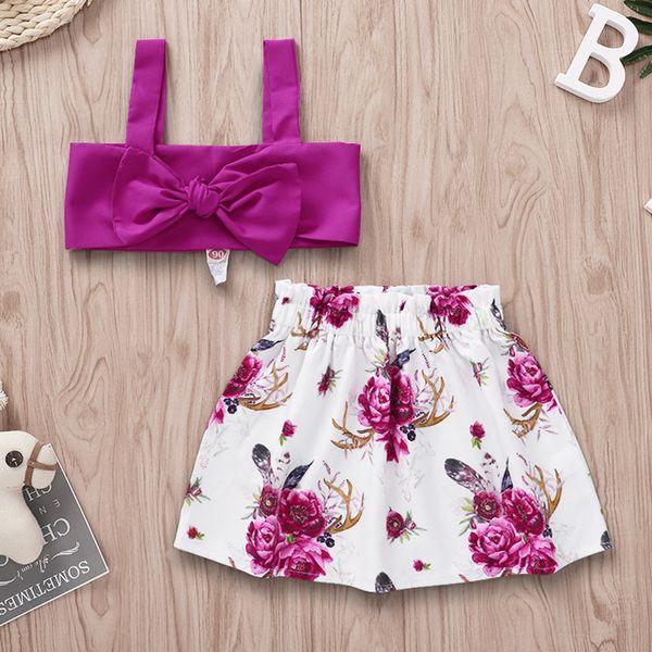 Été enfants princesse tenues INS filles Bows haut jarretelles taille haute + floral élastique imprimé shorts + lace-up bandeaux 3pcs ensembles F6707