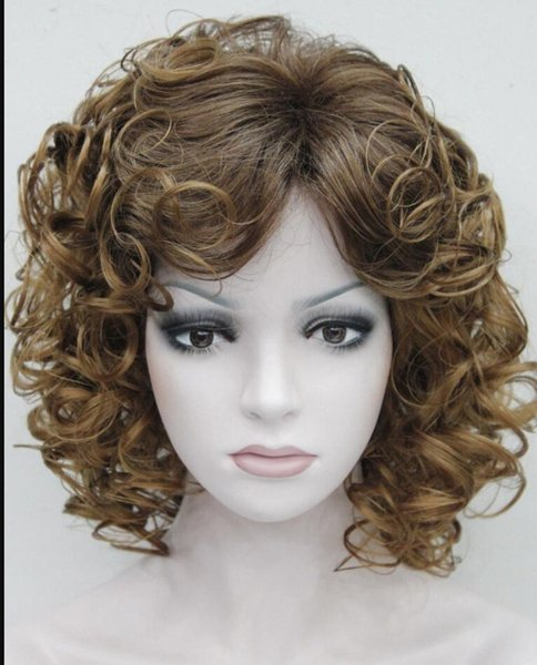 WIG HOT Envío Gratis Fresa Rubio Auburn Mixto Corto Rizado Mujeres Señoras Peluca Mullida FTLD184
