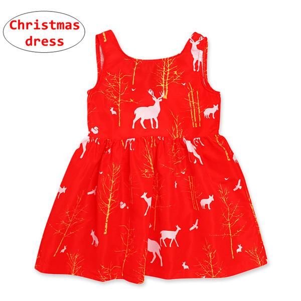 Vestido rojo de Navidad para niña Vestido sin mangas con estampado de ciervo para niños Niños Verano Otoño Vacaciones Bola crecida