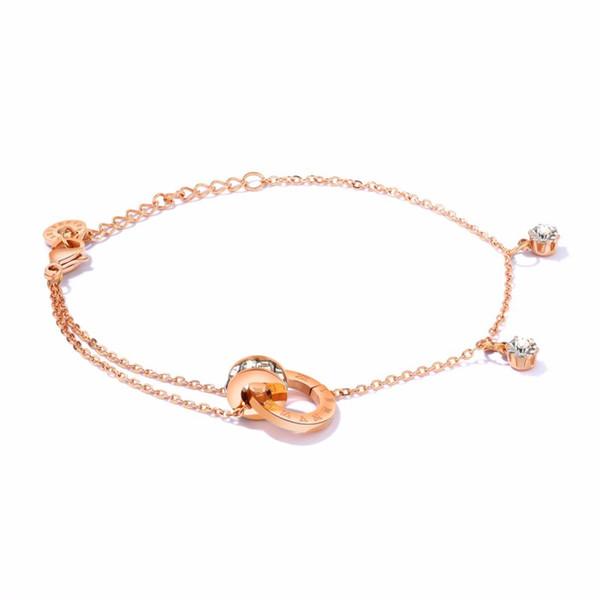 Braccialetti di fascino semplice braccialetto doppio strato di diamanti in titanio acciaio rosa oro doppio anello fibbia cerchio sottile bracciale catena O gioielli