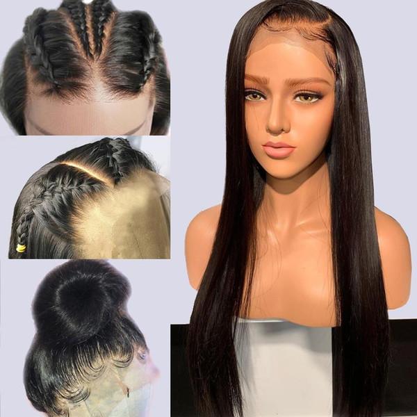 Parte dianteira do laço parte dianteira perucas de cabelo humano PrePlucked 360 Parte dianteira do fechamento peruca reta nacional Remy preto para mulheres