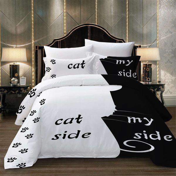 Literie de haute qualité ensemble simple Double King Size série noir et blanc 2 / 3pcs housse de couette ensemble avec chat belle simple Textiles de maison