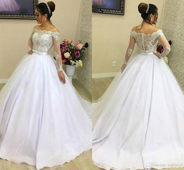 New Vintage White Long Sleeve Wedding Dresses Bateau Neck Sheer Lace Country Style Vestido de novia Bridal Gown Ball Bride Dress Plus Size