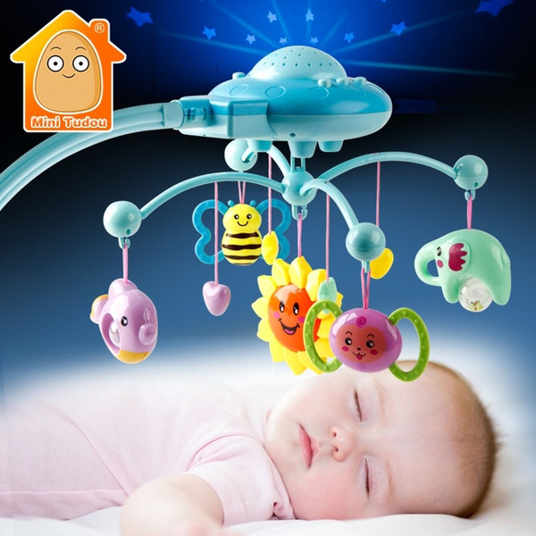 Baby Rattle Infant Toys For 0-12 Months Crib Mobile Bed Bell With Music And Sky Stars Projection Early Learning Kids Toy