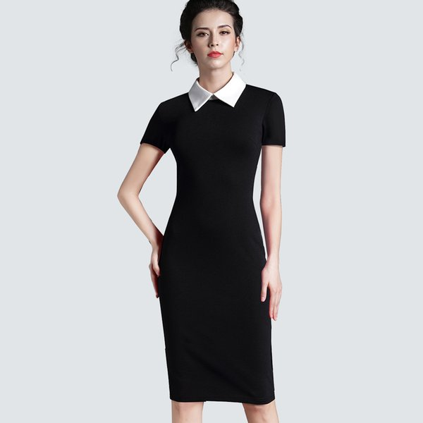 Women Clothing Vintage Black Women Formal Work Business Office Short Sleeve Casual Bodycon Sheath Fitted Pencil Dress 751 J190513