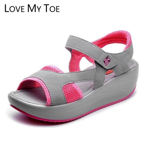 2017 Summer Fish Mouse Swing Casual Mesh Breathable Sandals Ladies Trainers Wedges Chaussure Femme Shoes For Women Zapatos Mujer