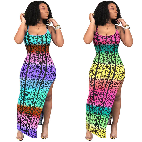 Novas Mulheres Spaghetti Strap Leopard Impressão Colorida de Alta Dividir Fino Praia Magro Tanque Maxi Vestido Sem Mangas Praia Vestidos 2 Cor