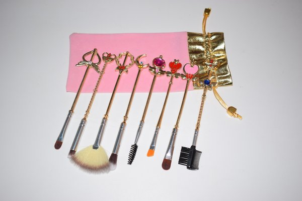 Sailor Moon Makeup Brushes 8pcs Gold Metal Diamond Make Up Brushes Eye Shadow Eyebrow Cosmetic Brush Set Kit Tools with Pink Velvet Bag