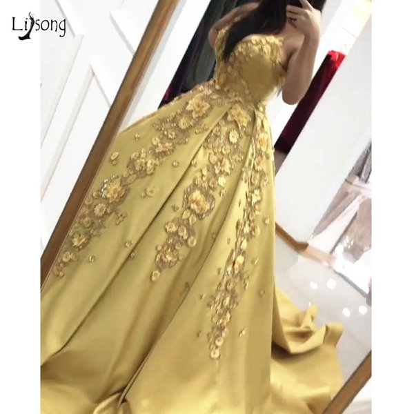 Abendkleider Saudi Arabic 3D Flower Prom Dresses 2019 Beaded Sequined Long Prom Gowns Sweetheart Off Shoulder Pretty Party Dress