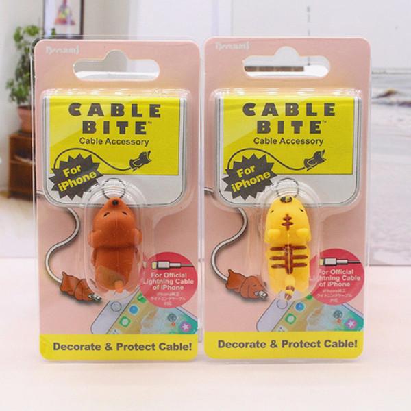 Sıcak Kablo Isırık Stilleri Hayvan Isırık Kablo Aksesuar Oyuncak Kablo ısırıkları Köpek Domuz Fil Axolotl iPhone XS Max XR Smartphone için Şarj Kordon
