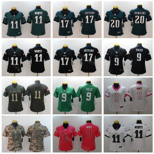 premium selection 2db5f 8a232 2019 Women Football Jersey Philadelphia Eagles Lady 11 Carson Wentz 17  Alshon Jeffery 20 Brian Dawkins Black Green White Woman Pink Green From ...