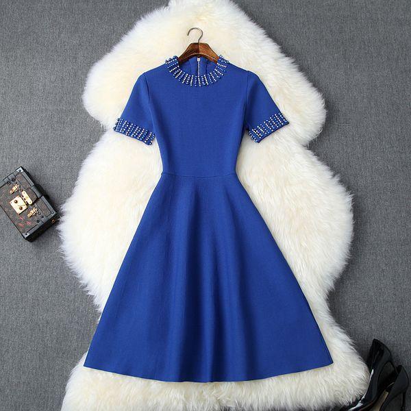 2019 Summer Fall Black / Blue Short Sleeve Round Neck Minimalist Plain Knitted Tie Waist Knee-Length Dress Fashion Dresses LYAG0416T10066