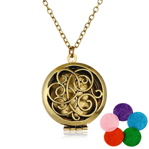 3 Arten Premium Ätherisches Öl Aromatherapie Diffusor Halsketten Edelstahl Glück Herz Medaillon Anhänger Pullover Kette für Frauen B420Q F