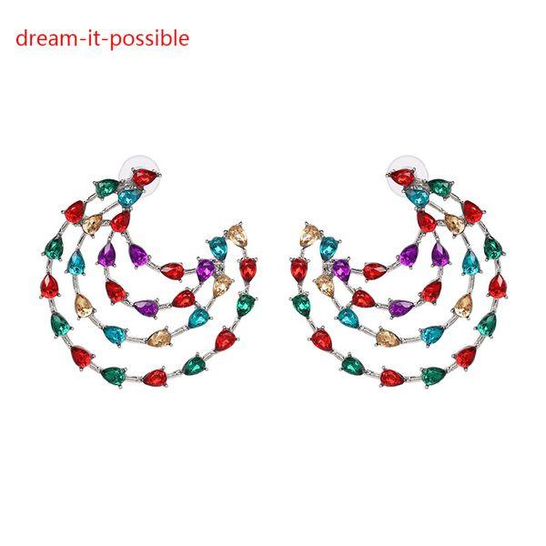 Dream-it-possible designer good cheap charm korean europe new multicolor crystal rhinestone cubic zirconin drop earring for