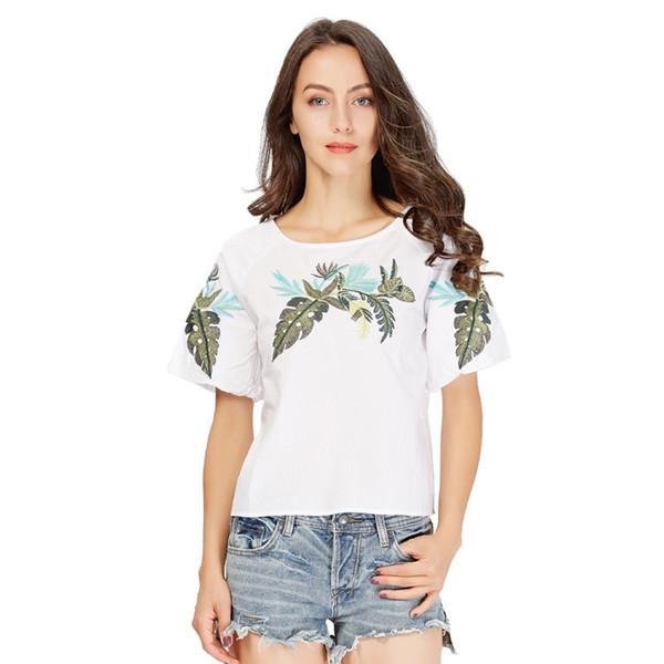 64e0b3753 Mujeres elegantes camisas de bordado de hojas de manga corta o cuello blusa  blanca para mujer