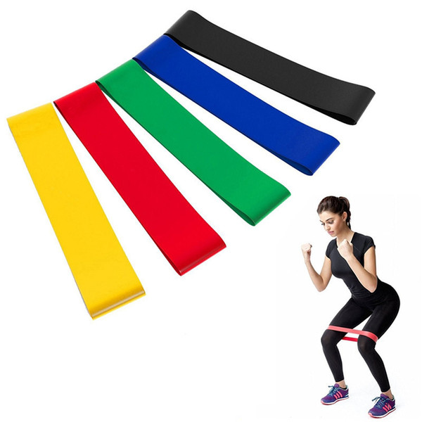 top popular 5pcs 500*50mm Resistance Rubber Loop Exercise Bands Set Fitness Strength Training Gym Yoga Equipment Elastic Bands with carry bag 2021