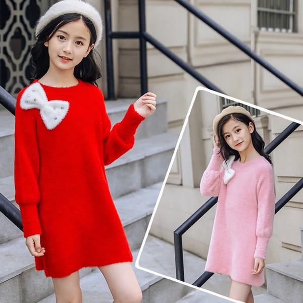 Детская одежда Девочки Knit Рубашка Новая осень и зима девушки свитер девушки основывая лук платье