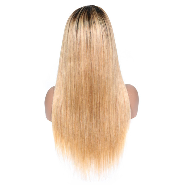 Full Lace Human Hair Wigs Straight Natural Hairline Brazilian Remy Hair Lace Front Wigs With Baby Hair Bleached Knots