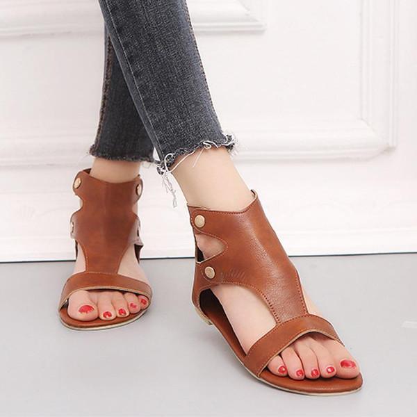 2019 Scarpe Donna Morbida pelle Donna Casual Scarpe estive Donna Zip Plus Size 35-43 Sandali Spiaggia zapatos de mujer