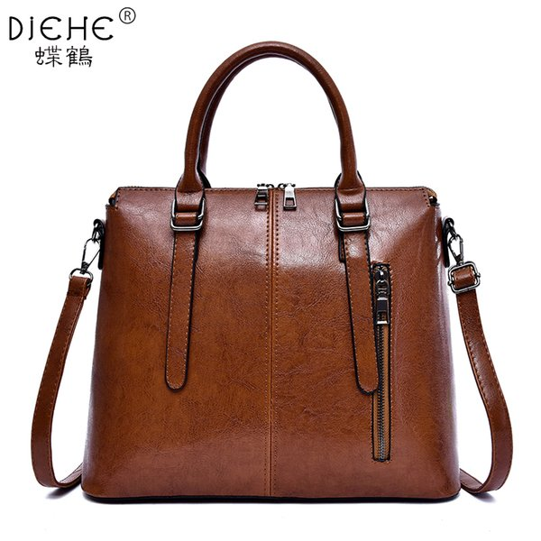 Vintage Women Leather Messenger Bags Lady Large Tote Handbags Girls Fashion Shoulder Bag Bolsas Gray Brown Black Sac A Epaule