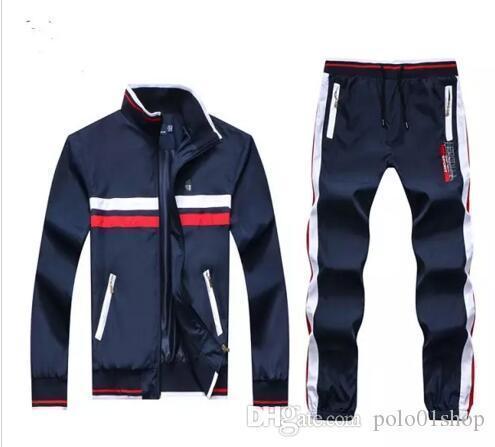 Großhandel - Men039; s Pullover und Sweatshirts Sportswear Man Polo Jacke Hosen Jogging Jogger Sets Turtleneck-Sport-Trainingsnazug Trainingsanzüge