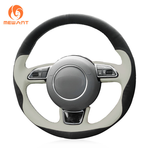 Mewant DIY 3D Design Black Suede Beige Leather Steering Wheel Cover Wrap for Audi A1 A3 A5 A7
