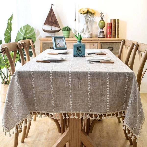 Romanzo Thick Yarn-dyed Linen Fabric Blue Gray Strip Tassel Tablecloth Hotel Christmas Decoration Cloth For Coffee Bar Table Y19062103