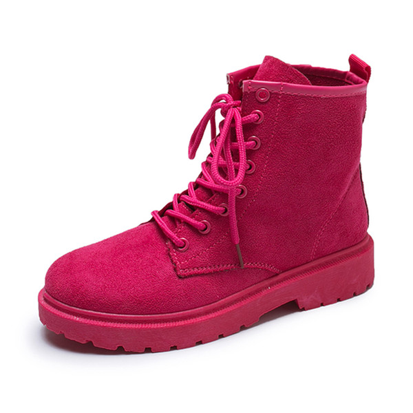 Bottes de cheville de femmes en dentelle Casual up Chaussures Femmes 2019 Bottines en cuir Printemps Automne Femme Automne Semelle en caoutchouc Chaussures