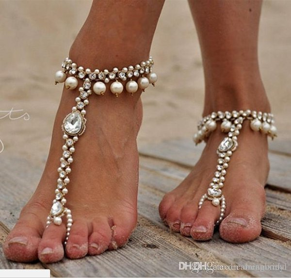 Bridal Pearl and Crystal Barefoot Sandals Wedding Shoes Yoga Accessoried Dance Shoes Foot Jewellery Pool Nude Shoes Beach Necessity