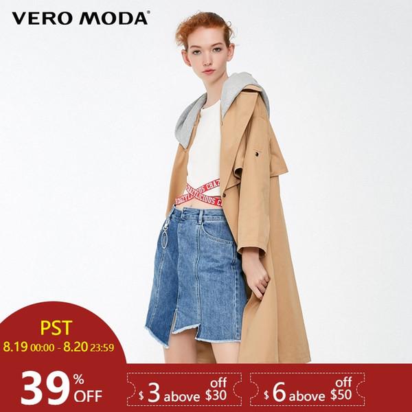 Vero Moda 2019 новый женский съемный капюшон свободного покроя пальто Parka тренч |